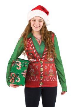 Chaleco suéter feo de Navidad para mujer