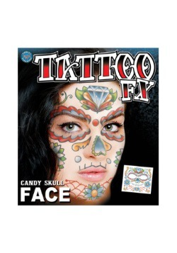 Tatuaje temporal de Candy Skull para la cara