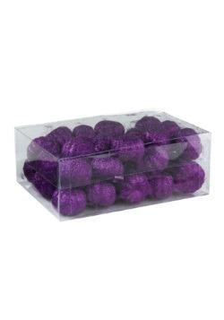 Minicalabazas de 36 piezas moradas con brillantina