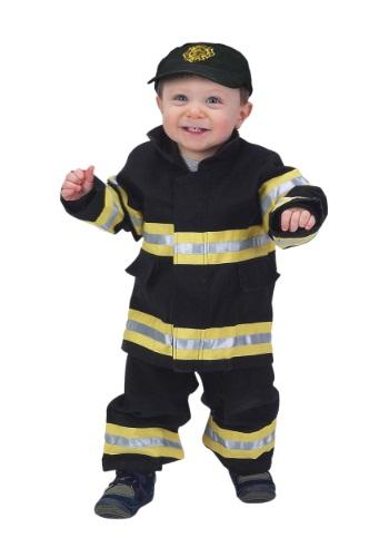 Disfraz de bombero negro y amarillo para niños pequeños