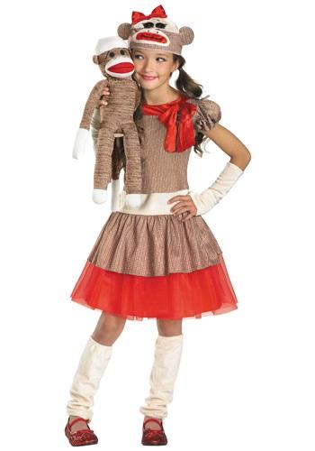 Disfraz de mono calcetín para niña