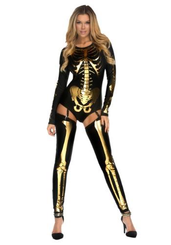 Disfraz Mala hasta los huesos dorado para mujer