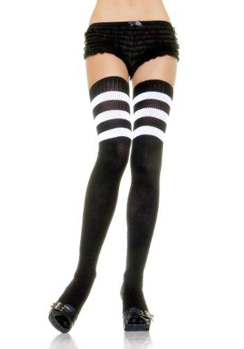 Calcetines deportivos negros con rayas blancas