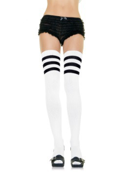Calcetines deportivos blancos con rayas negras