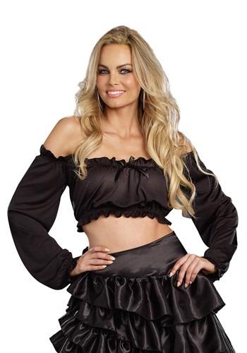 Blusa negra de campesina para mujer