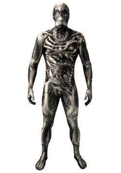 Morphsuit de esqueleto calavera y huesos para adulto