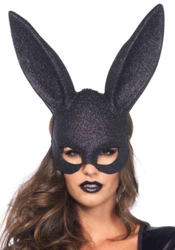 Máscara de conejito con brillantina negra
