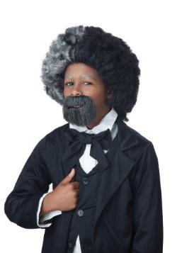 Peluca y barba de Frederik Douglas para niños