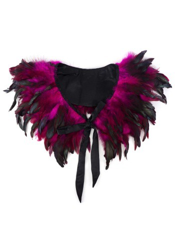 Cuello con plumas negro con ribete satinado y lazos