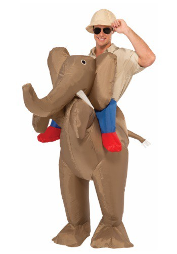 Disfraz paseo en elefante inflable para adulto