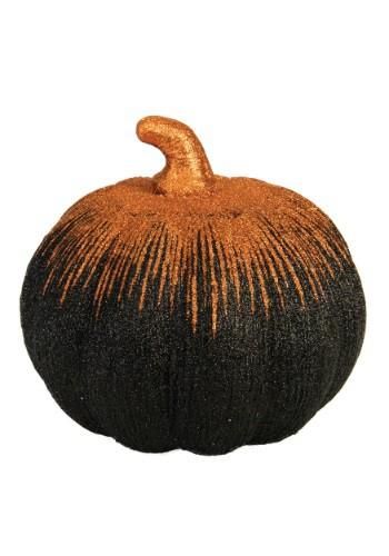 """Calabaza negra y naranja de 8 """" con polvo metálico"""