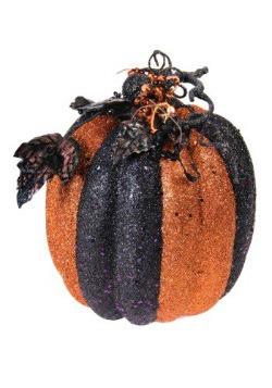"""Calabaza de 9"""" naranja y negro con brillantina a rayas"""