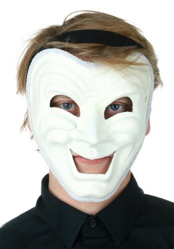 Máscara de comedia blanca para adulto