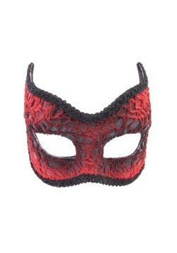 Máscara diabólica de encaje rojo para adulto
