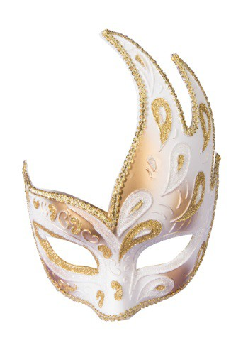 Media máscara dorada con cinta para adulto