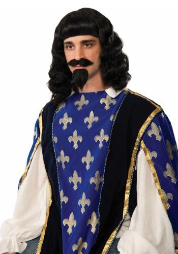 Set de peluca y barba para mosquetero para adulto