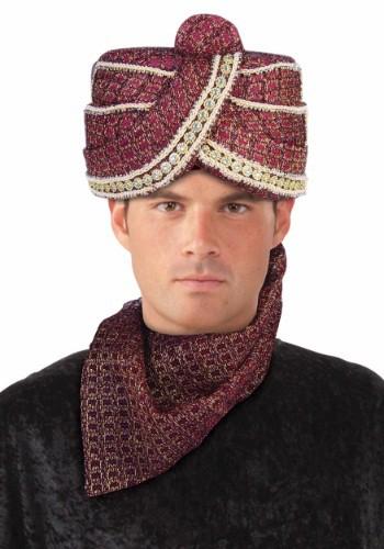 Turbante rojo de Maharaja para adulto
