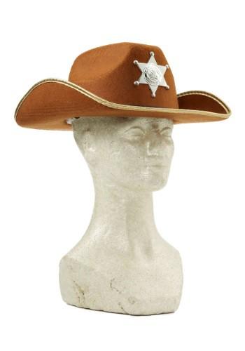 Sombrero infantil de vaquero café con placa