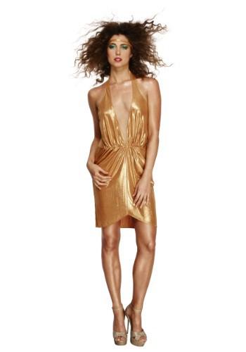 Disfraz Disco Diva de mujer de los años 70 dorado