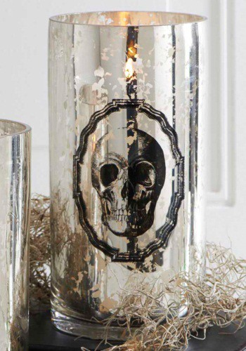 "Jarrón de vidrio con impresión esqueleto tipo mercurio 7.75"""