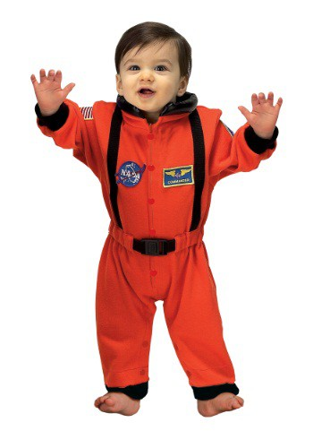 Romper de bebé de astronauta naranja