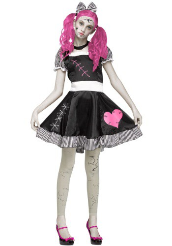 Disfraz de muñeca rota espeluznante para adolescente