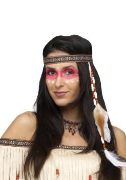 Cinta de nativos americanos con cuentas y plumas