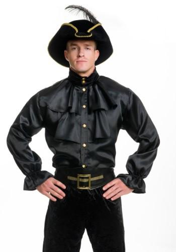 Camisa negra de satén con volantes para hombre