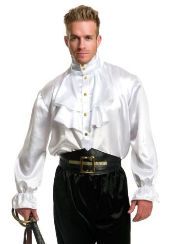 Camisa blanca de satén con volantes para hombre