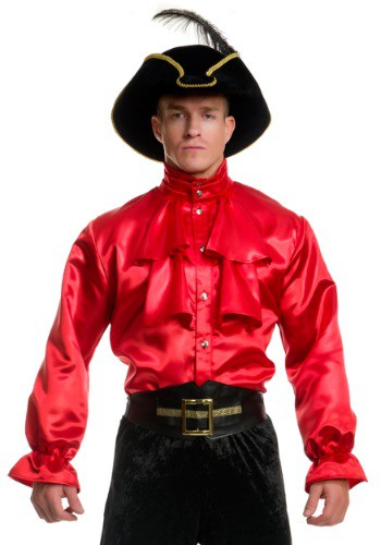 Camisa de satén rojo con volantes para hombre