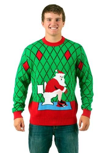 Suéter navideño feo de Santa en inodoro