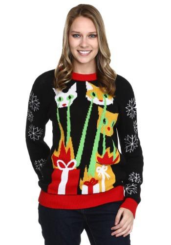 Suéter de Navidad feo Laser Cat-zillas