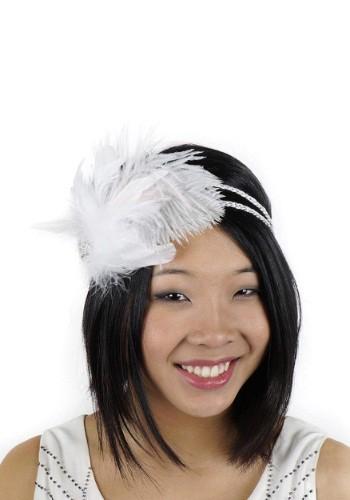 Cinta blanca estilo flapper con diamantes de imitación