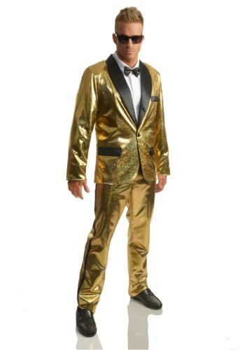 Disfraz de esmoquin Gold Disco Ball para hombre