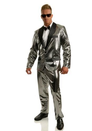 Disfraz de esmoquin de bola disco plateada para hombre