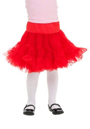 Crinolina infantil blanca y roja hasta la rodilla para niños