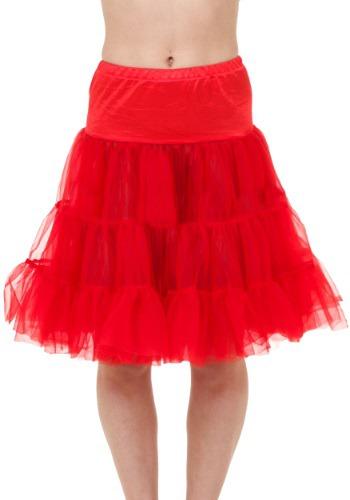 Crinolina roja a la rodilla para adulto