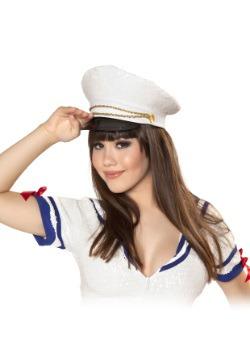 Gorro de marinero blanco con lentejuelas