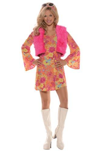 Vestido de mujer de rosa de los 70
