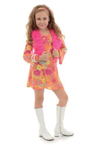 Disfraz para niña con flores de los 70