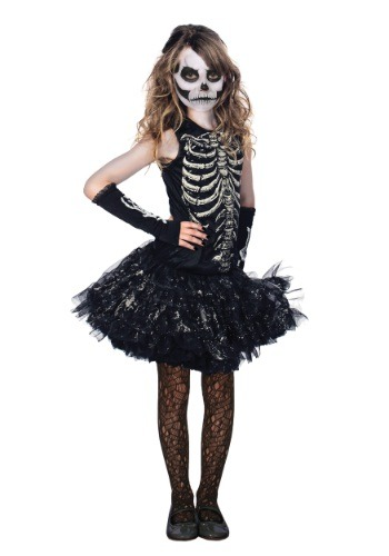 Disfraz de esqueleto huesudo tierno para niñas