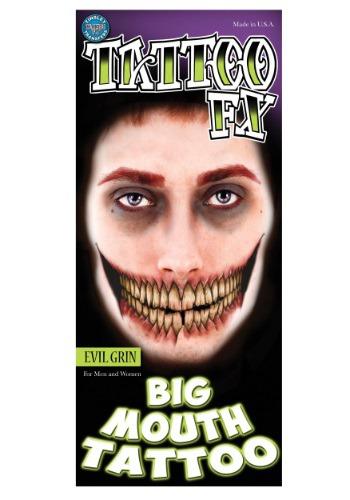 Evil Grin temporal gran boca tatuaje