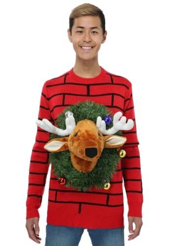 Suéter de Navidad feo con cabeza de reno