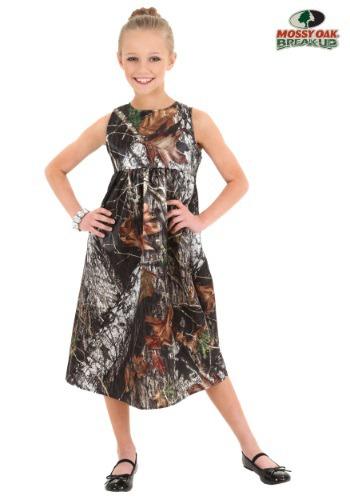 Vestido de niña de las flores de roble cubierto de musgo