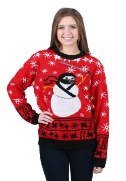 Suéter navideño feo de Muñeco de nieve ninja