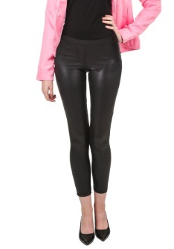 Leggings brillantes negros con mosca falsa al frente