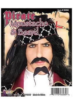 Barba y bigote negro de pirata