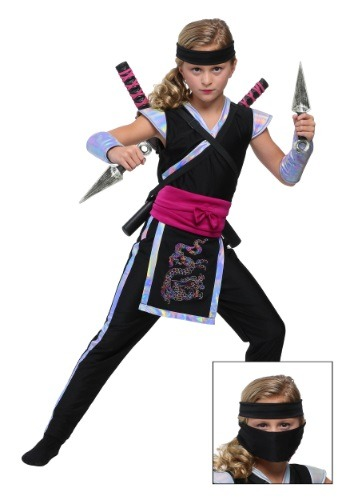 Disfraz de ninja del arco iris para niña