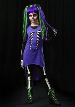 Disfraz infantil de chica esqueleto morado y verde