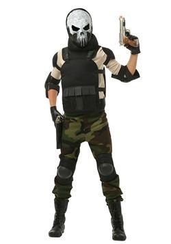 Disfraz de calavera de hombre militar para niños